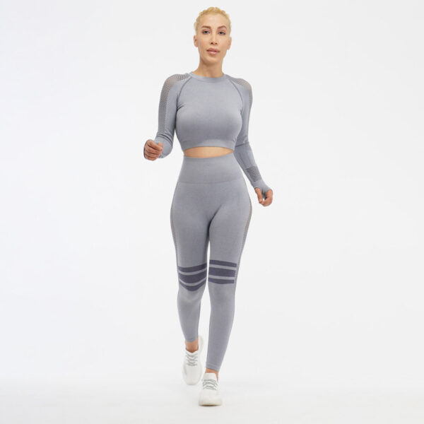 Women Seamless Workout Outfits - Leggings and Long Sleeve net Top